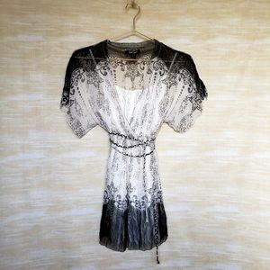 Karen Kane S silk babydoll belted tunic and cami